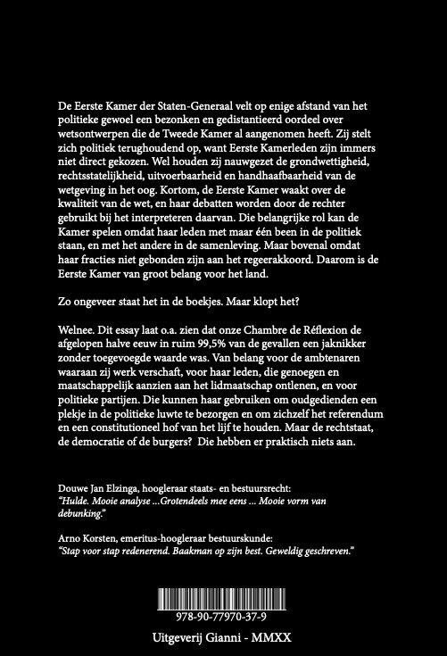 Uitgeverij Gianni - Over het belang van de Eerste Kamer der Staten-Generaal | isbn 978-90-77970-37-9